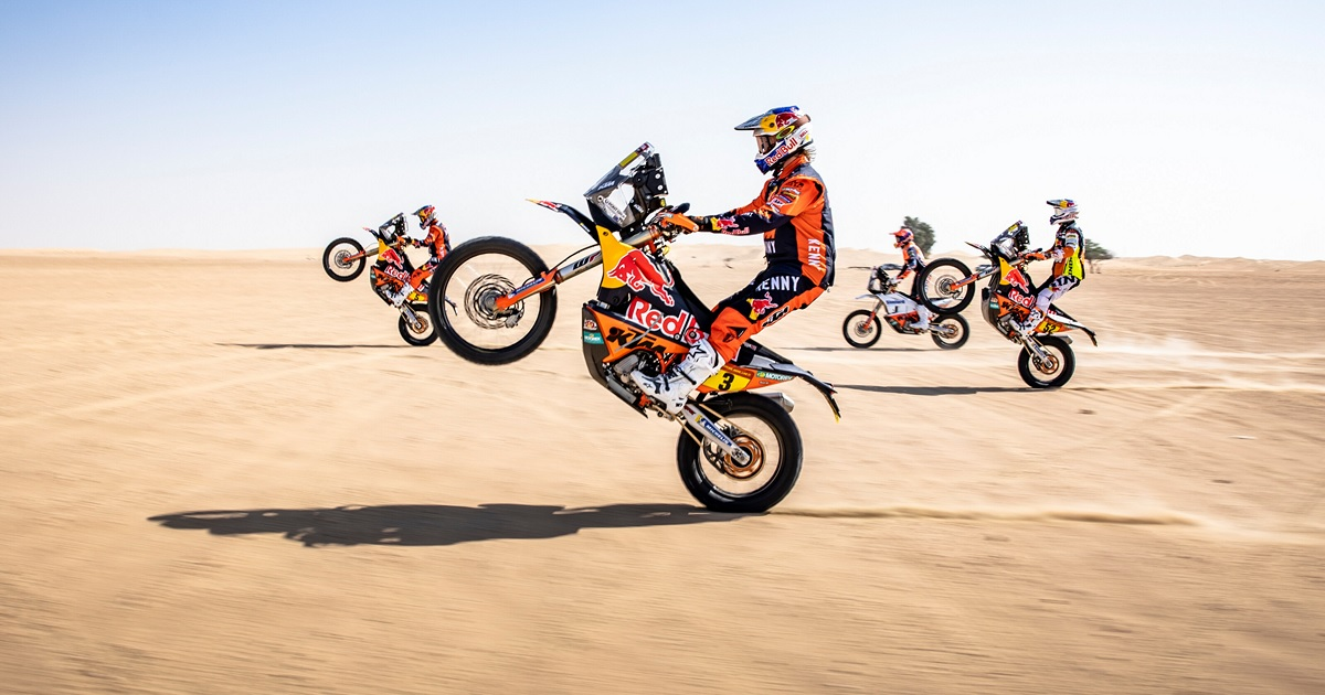A KTM versenyzői a 2021-es Dakar Rally-n: Toby Price, Matthias Walkner, Sam Sunderland és Daniel Sander